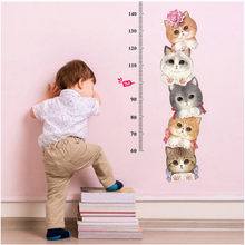 Cute Cat Theme Wall Sticker Family Room Window Bedroom Hallway Children Room Mural Decorative Decal Detachable Height Meter(China)