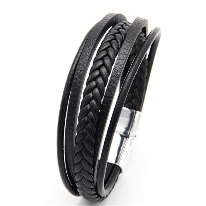 ZOSHI New Design Multi-layers Handmade Braided Genuine Leather Bracelet & Bangle For Men Stainless Steel Fashion Bangles Gifts