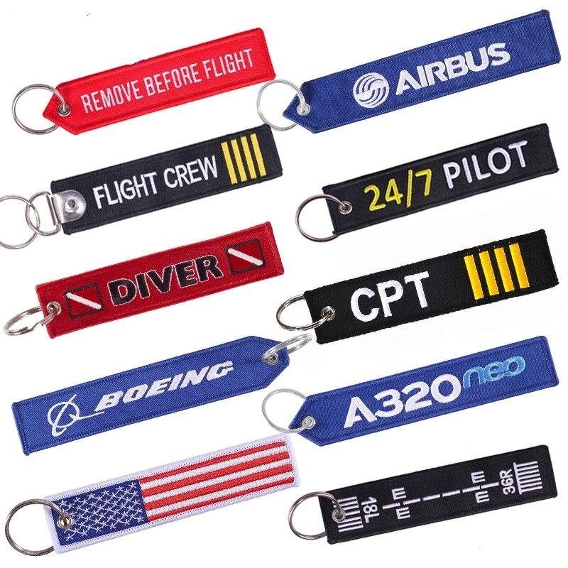 Quitar antes del vuelo llaveros de coche regalos de aviación personalizar bordado rojo resaltar llaveros cadenas joyería Berloques