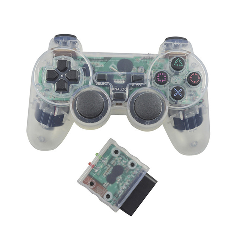 Transparent Color Controller For Sony PS2 Wireless Bluetooth Controller 2 4G Vibration Controle Gamepad for Playstation 2