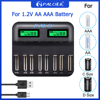 PALO USB Smart LCD Quick Charger AA AAA C D Battery Charger 8 Slots For 1.2V AA AAA SC C D NIMH NICD Rechargeable Battery 7 2v 250mah with tamiya connectors usb charger units for nicd nimh battery pack charger for toy rc car tank boat for ket 2p plug