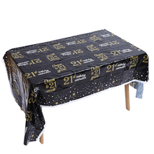 Adult 21st Black Gold Birthday Disposable Tablecloth Happy Party Decorations Wedding Anniversary Supplies