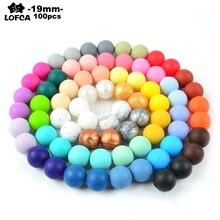 100 stücke 19MM Runde Silikon Perlen Für Silikon Zahnen Halskette Food Grade Perlen Für Baby BPA Sichere DIY Silikon zahnen Perlen