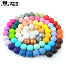 100pcs 19MM Round Silicone Beads For Silicone Teething Necklace Food Grade Beads For Baby BPA Safe DIY Silicone Teething Beads