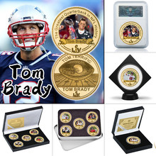 American Football Gold Plated Commemorative Coins Collectibles Challenge Coin with Holder Sports Souvenir Gifts for Boys