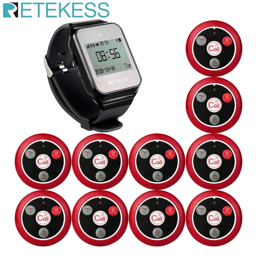 Retekess restaurante buscapersonas sistema de llamada de camarero inalámbrico TD108 reloj RECEPTOR + 10 T117 botón de llamada para servicio al cliente clínica