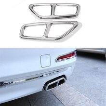 Yubao 2 unids/set inoxidable trasero Tubo de escape Dual cubierta adornos de plata para BMW serie 5 G30 G31 17  18