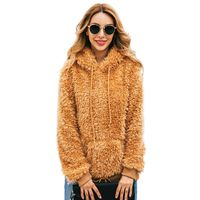 New Autumn Winter Women Faux Fur Shaggy Fluffy Pullover Casual Long Sleeve Drawstring Hoodies Sweatshirt Outwear With Pocket