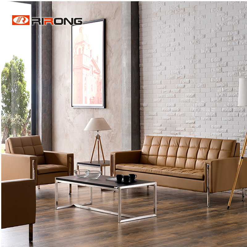 High Quality Modern Leather Colorful Office Home  Living Room Reception Area Sofa  Coffee Table Set