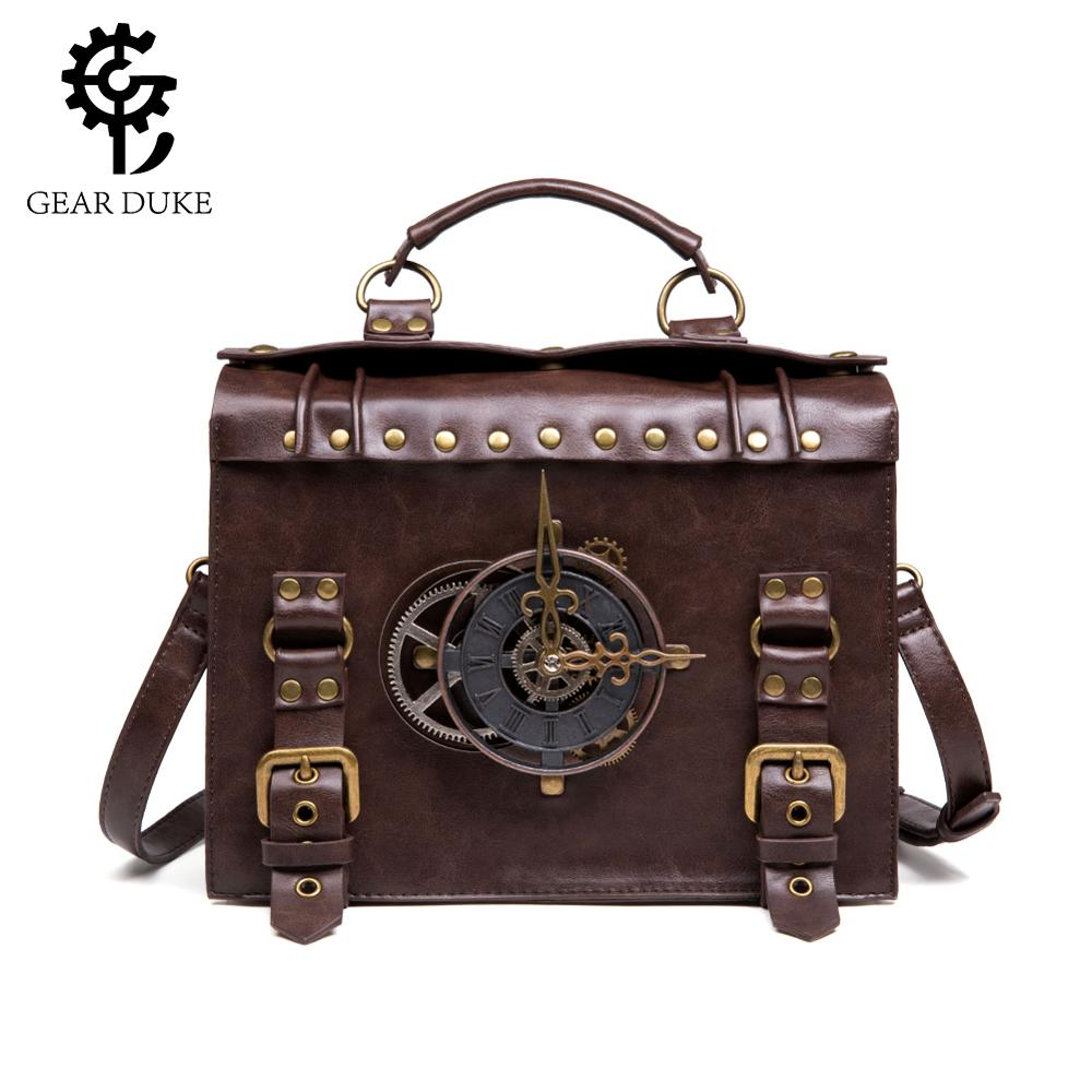 Steampunk Gear Retro Gothic Bags For Women 2019 Handbags High Quality Leather Cross Body Bags Lolita Style Shoulder Bags So Cool