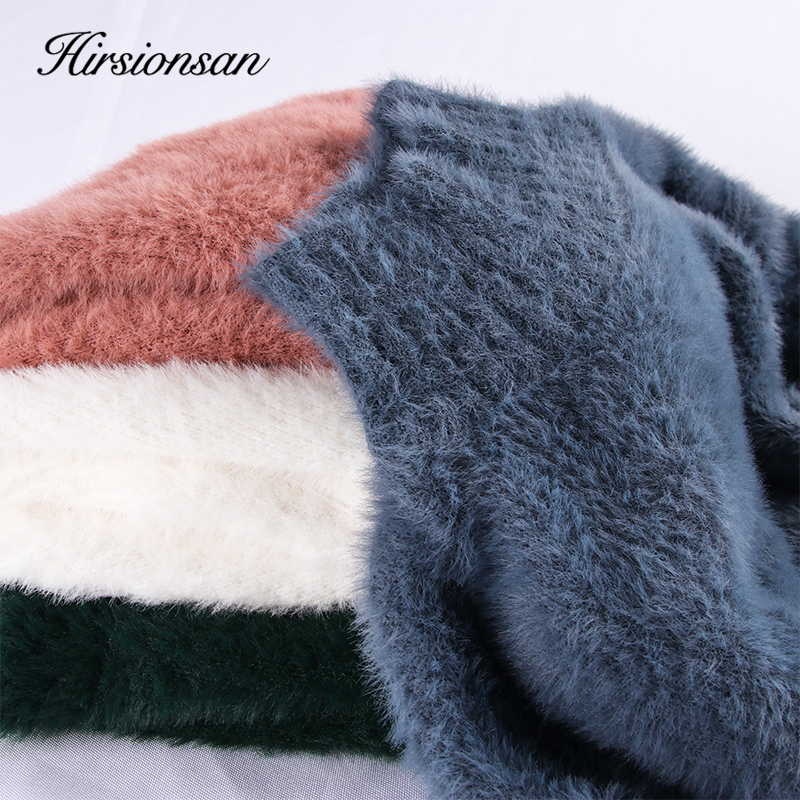 Hirsionsan Sweater Women 2019 Winter Mink Cashmere Pullovers Casual O Neck Soft Warm Jumper Autumn Mohair Sweaters Pull Femme