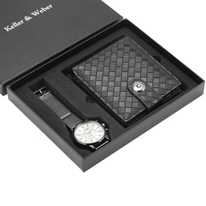 Image 5 - Unique Men Quartz Watch Genuine Leather Wallet Gift Set Practical Pin Buckle Watches Business Style Male Clock Top Gifts 2019