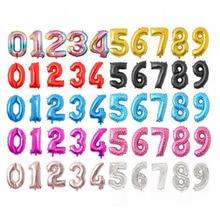16 32 дюймов фольгированные воздушные шары на день рождения воздушные гелиевые цифры шары цифры Свадьба С Днем Рождения украшения Детские воздушные шары для дня рождения