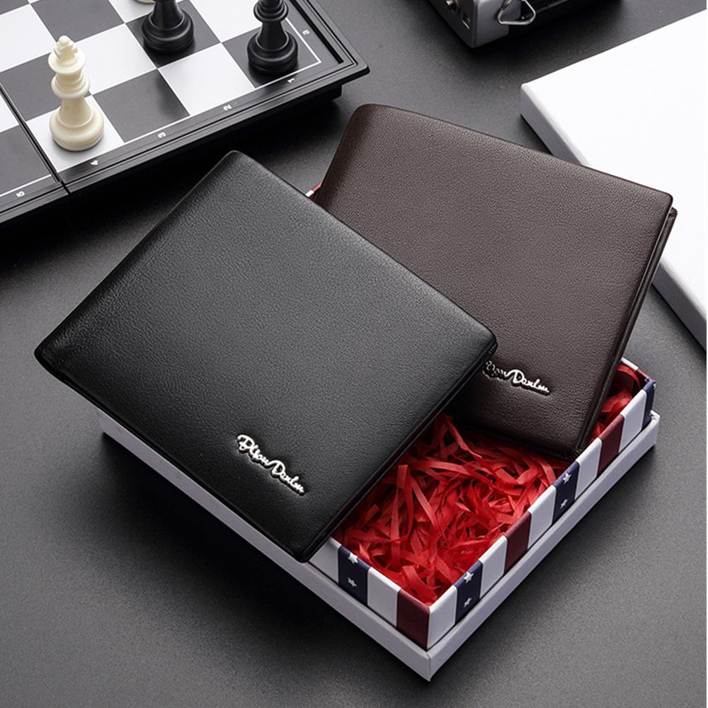 BISON DENIM Genuine Leather RFID Wallet Male Multifunctional Card Holder Wallet with Coin Purse Soft Standard Money Bag W4495