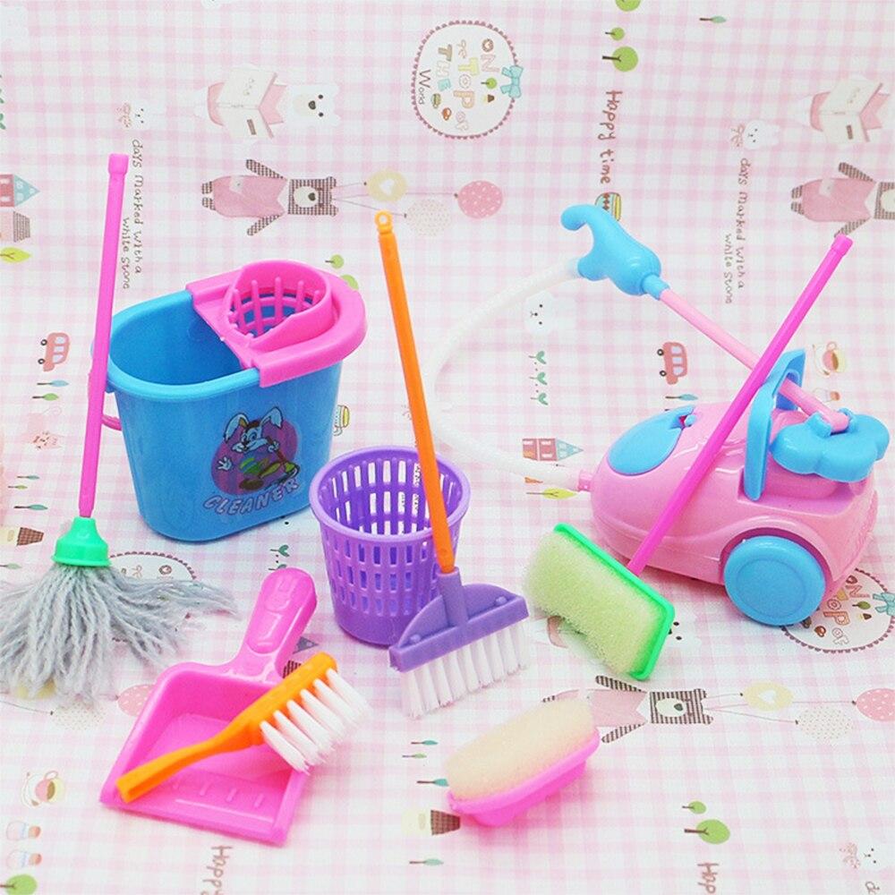 Mugoyrt boneca acessórios mini vassoura mop lixo pode ferramentas de limpeza doméstica para barbie casa boneca crianças brinquedo educativo 9 pçs/set