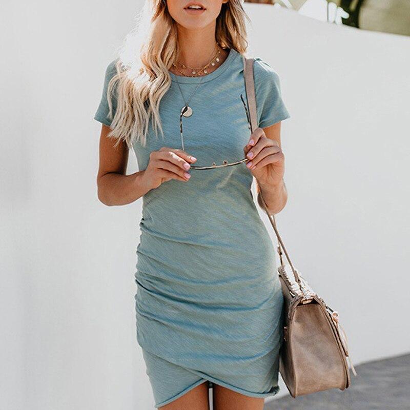 Sexy Dresses Women Summer Mini Dress Short Sleeve Solid Bodycon Slim Party Dress Casual Bodycon Beach Dress Vestido Plus Size