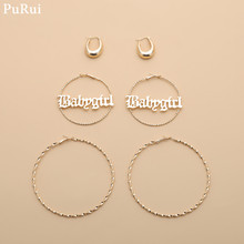 Purui Oversize Earrings Set 3Pairs Women Girl Trendy Large Hoop Gold Color Big Circle Loop Statement Jewelry