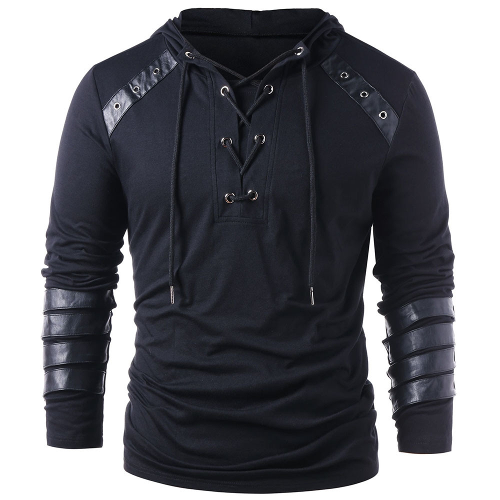 Men's Fashion Faux Leather Lace Up Hoodie for Boyfriend Drawstring Hoodie Pullover Sweatshirt Full Sleeves Gothic Camisetas