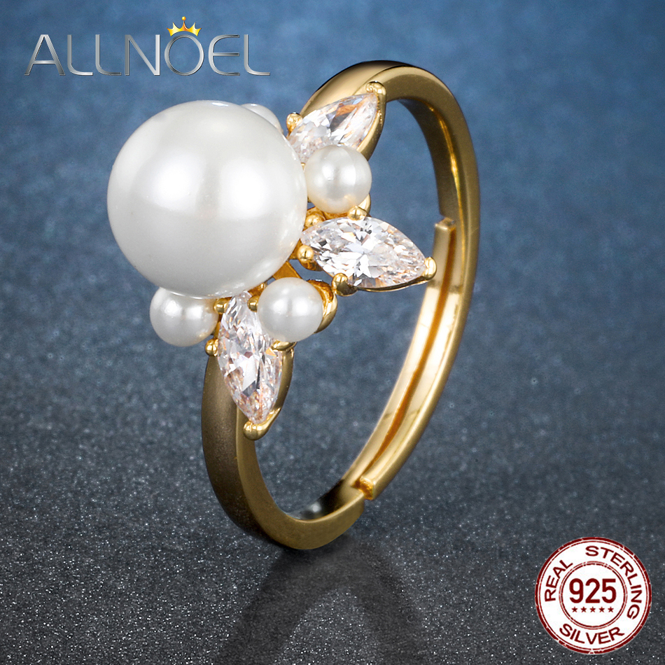 ALLNOEL 925 Sterling Silver Real Zircon Pearl Ring Female Yellow Gold Color Resizeable Party Trendy womens Silver 925 jewelry-in Rings from Jewelry & Accessories