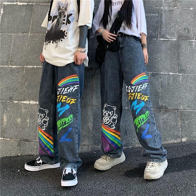 SHENGPALAE 2021 New Summer Autumn Casual Jeans Woman Long Trousers Cowboy Female Loose Streetwear Graffiti Print Pants ZA5047 5