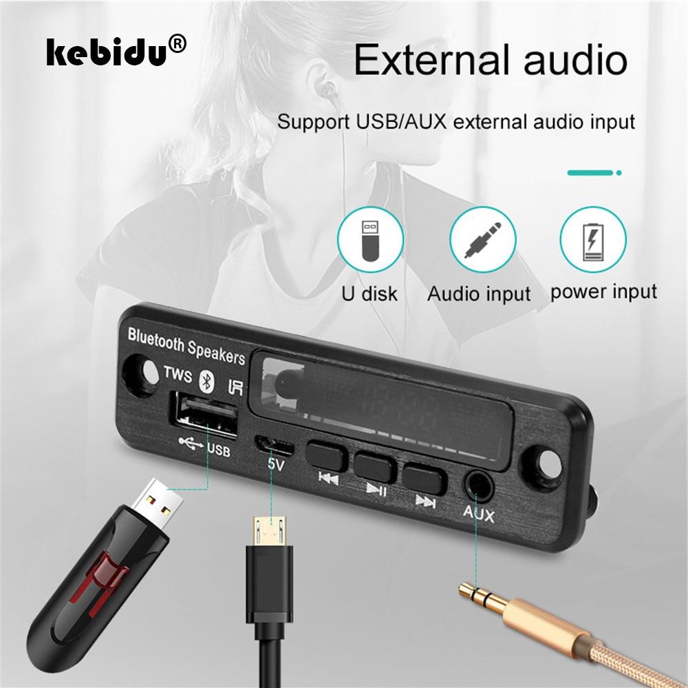 5 в беспроводной автомобильный комплект TWS Bluetooth 5,0 гарнитура декодер для APE/MP3 Плата FM радио TF USB 3,5 мм AUX аудио mp3-плеер