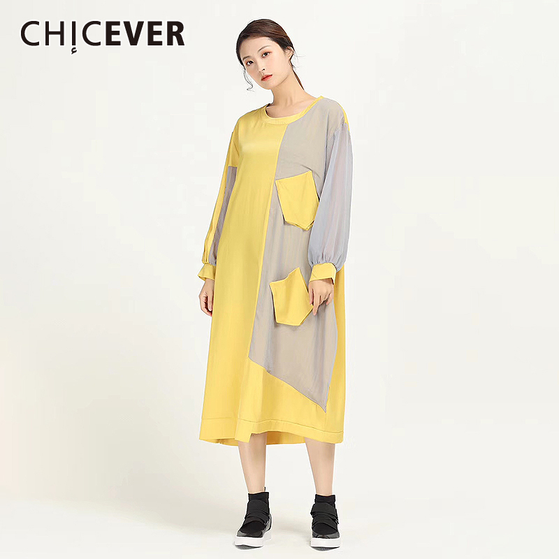 CHICEVER Casual Hit Color Irregular Women Dress O Neck Lantern Long Sleeve High Waist Patchwork Dresses Female Clothing 2020 New