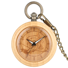 Bamboo Pocket Watch  Men Wooden Fish Pattern Dial Quartz Clock High Quality Necklace Chain Pendant Watch Women Gift reloj de bol nature bamboo case quartz pocket watches delicate carving dial alloy pendant chain gift for unisex