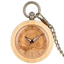 Bamboo Pocket Watch  Men Wooden Fish Pattern Dial Quartz Clock High Quality Necklace Chain Pendant Watch Women Gift reloj de bol стоимость