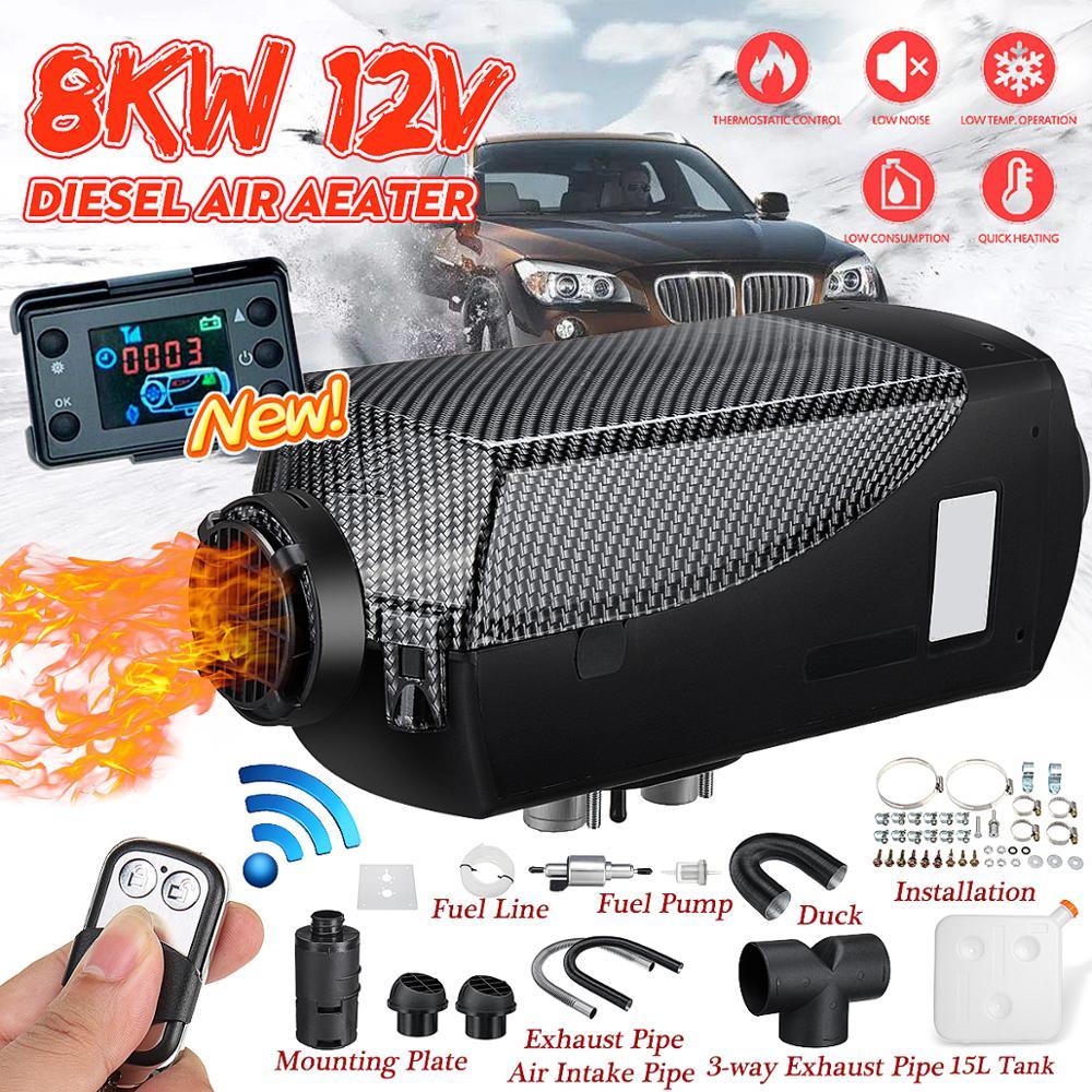 車ヒーター 8KW 12V 24V 空気ディーゼルヒーター 2 空気出口液晶モニター + 15L タンクリモートコントロール rv のボートトレーラートラックキャンピングカー