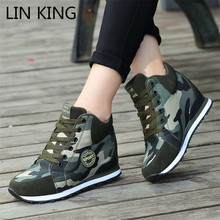 LIN KING Big Size Height Increase Women Casual Canvas Shoes Camouflage Lace Up High Top Tenis Sneakers New Combat Trainers Shoes
