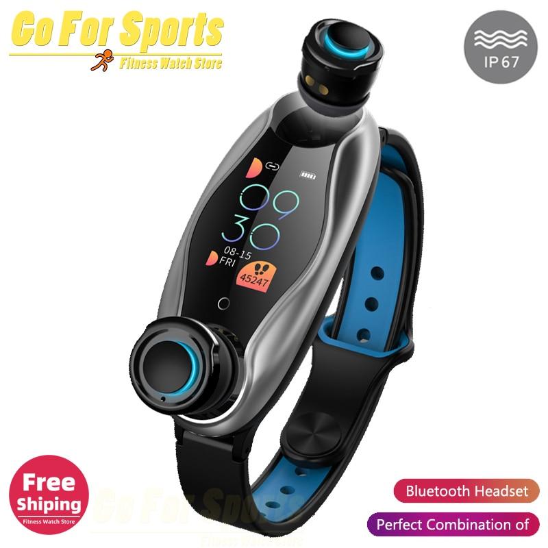 T90 Fitness Bracelet Bluetooth 5.0 with Wireless Earphones IP67 Waterproof Sport Smart Watch Clock for Android IOS Phone pk T89