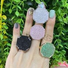 GODKI 2019 Trendy kwadratowa geometria Cubic cyrkon stosy pierścienie dla kobiet palec pierścienie koraliki urok pierścień czeski plaża biżuteria 2019