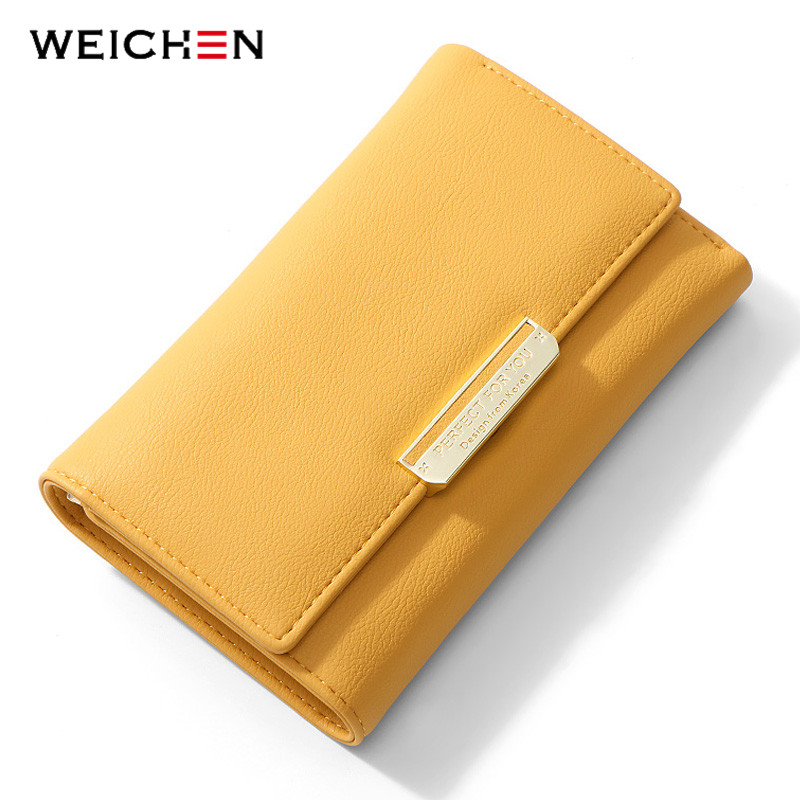 WEICHEN Standard Wallet Many Departments Card Holder Carteira Female Portfel Synthetic Leather Wallet Women Purse Ladies Purses