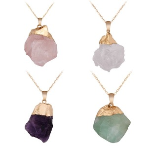 Reiki Healing Raw Mineral Natural Quartz Pendant Necklaces Rose Crystal Clear Quartz Fluorite Tourmaline Amethysts Necklaces