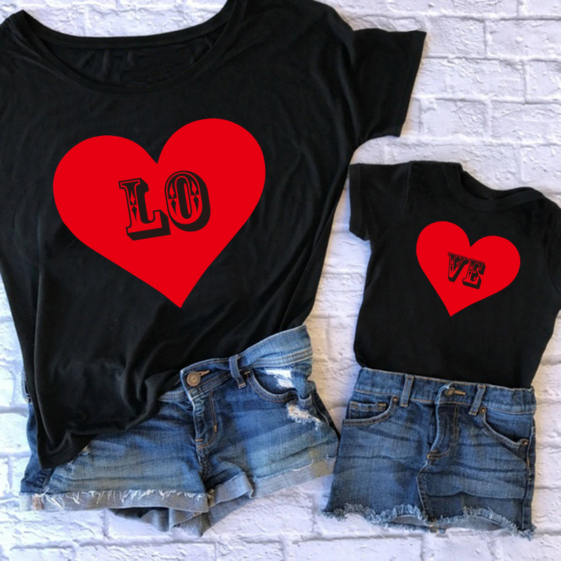Mommy And Daughter Matching Clothes Mom Baby Girls Soft Cotton Heart Print T Shirt Mother Daughter Matching Family Outfits Tops