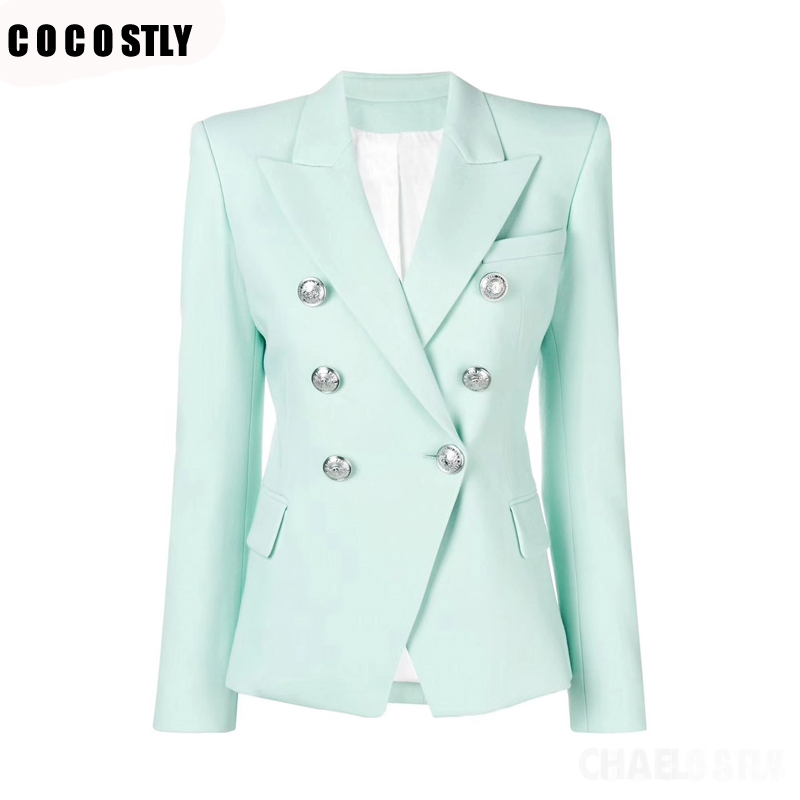 2019 Spring Autumn Suit For Women Formal Suit Jackets Office Lady Work Double Breasted Notched Ladies Blazer Coat Plus Size
