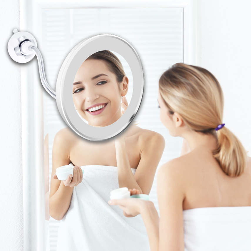 Vanity Makeup Mirror LED Light 10X Magnifying Mirror 360 Degree Rotation Flexible Suction Cup For Wall Mirror Portable Mirror