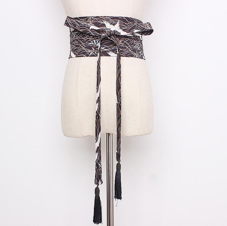 Women's Runway Fashion Bird Print Tassel Cummerbunds Female Vintage Dress Corsets Waistband Belts Decoration Wide Belt R2165