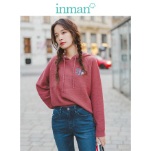 INMAN 2019 Autumn New Arrival Literary Embroidery Hooded Long Sleeve Solid All Matched Women Pullover