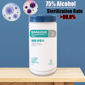 Portable 80 Pcs Bactericidal Disinfectant Wipe 75% Alcohol Sanitizer Pads Cleaning Tissue Hand Surface Clean Sanitising Wet Pads