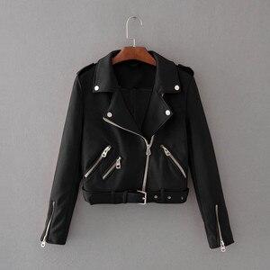 Autumn Winter Women Jacket Solid Long Sleeve Zipper Cool Short Jacket Streetwear Long Sleeve Turn Down Neck Female Jacket