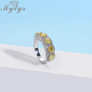 Image 4 - Mytys Fashion Romantic Ring Exquisite Created Yellow Color AAA Cubic Zircon Ring for Women Full Setring Luxury Jewelry R2149