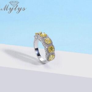 Image 4 - Mytys moda romantik yüzük zarif oluşturulan sarı renk AAA kübik zirkon yüzük kadınlar için tam Setring lüks takı R2149