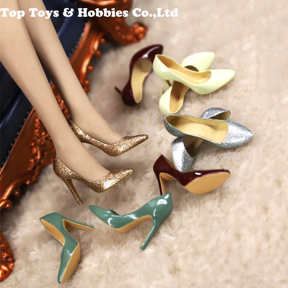 FT018 1/6Scale Female Figure Shoes High Heels Empty Inside Ladies Girl PVS Shoes For 6