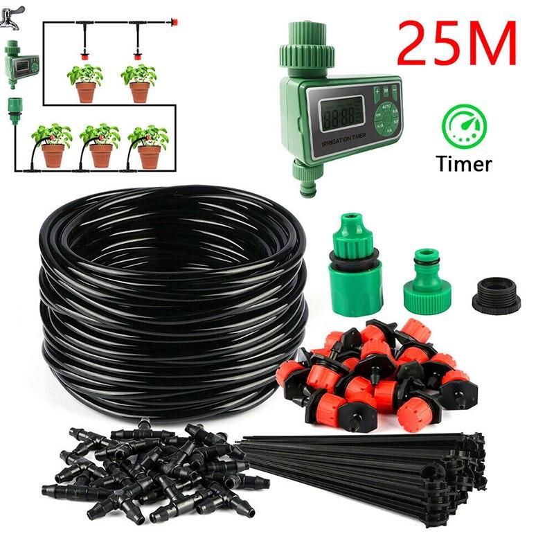 25m bricolage Micro goutte à goutte minuterie système d'irrigation usine automatique arrosage minuterie d'irrigation jardin tuyau Kits