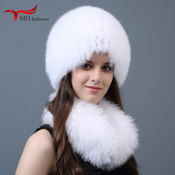 New fox fur hat female bib ladies autumn winter hats for real earmuffs hat scarf two-piece fashion warm hat scarf set women cap