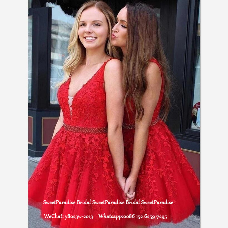 Red Short Bridesmaid Dresses With Beads Appliques Puffy A Line Deep V Neck Mini Wedding Guest Dresses Party For Women