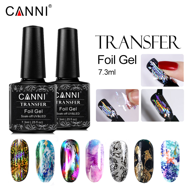 CANNI transfert feuilles Gel vernis à ongles métal couleur vernis UV LED Gel laque étoile colle timbre Gel feuilles Bling Nail Art décoration