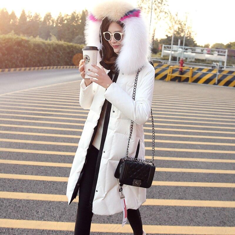90% White Duck Down Jacket Women Winter Down Coat Female Real Fur Hooded Parkas Warm Slim Outwear Doudoune Femme LWL1180