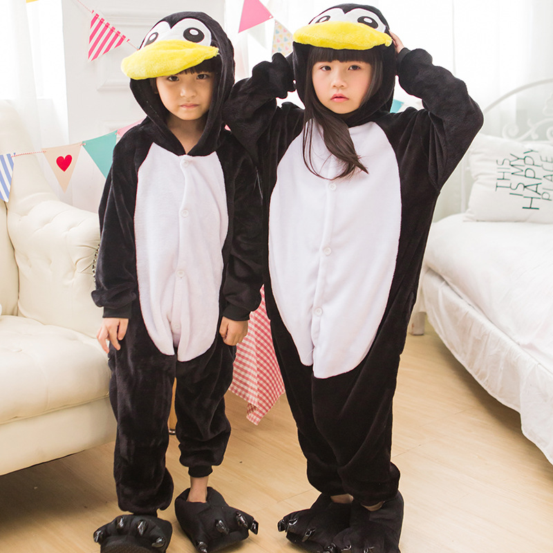 Kids Halloween Costumes Cartoon Animal Penguin Cute Outfit Flannel Special Party Boy Girl Onesie Pajama Suit